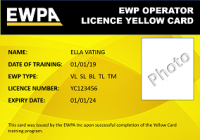 EWPA Yellow Card (VL,SL,BL)